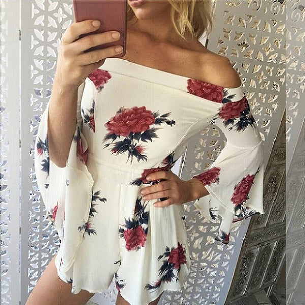 Women's Summer Floral Print Romper Jumpsuit - Pajamas Haven