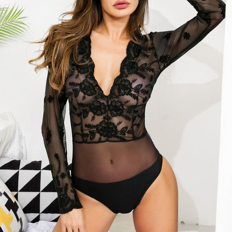Body transparent motif fleur - dvlparis.com