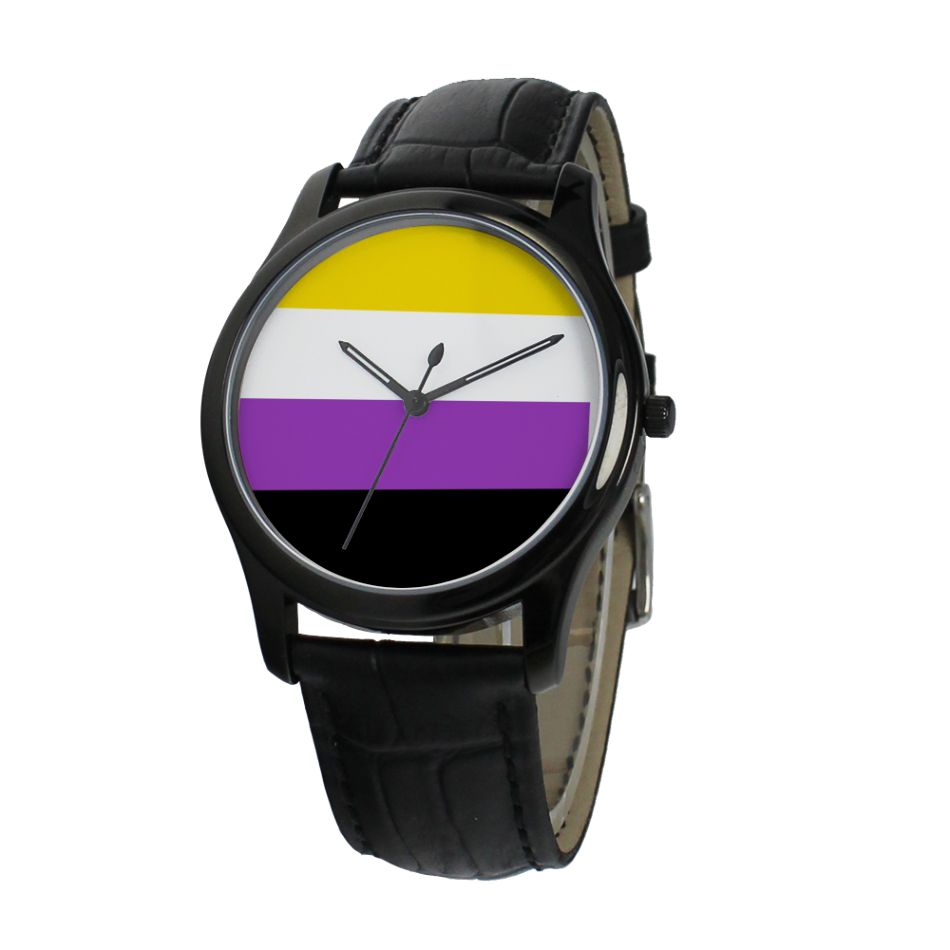 Pride Flag Black Steel Water-resistant Classic Quartz Watch
