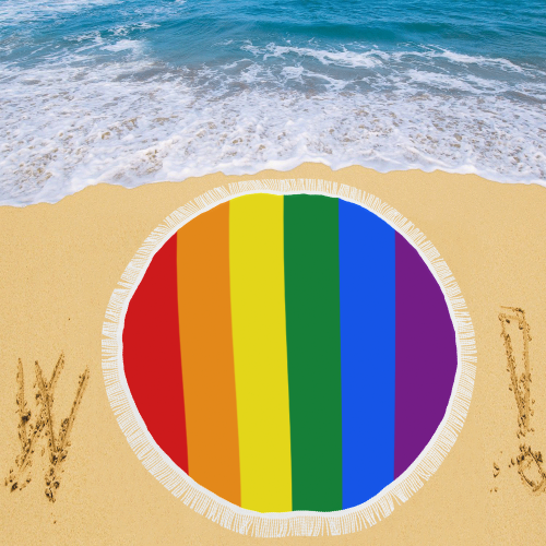 "Rainbow Gay Flag Towel Circular Beach Shawl 59""x 59"""