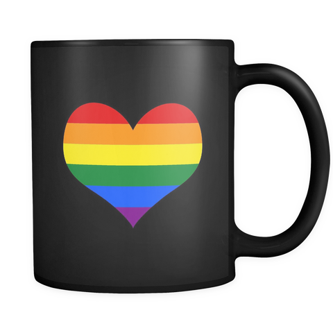 Rainbow Heart Black 11oz Mug