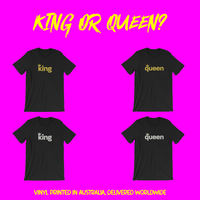 King / Queen Metallic Vinyl Print Short-Sleeve Unisex T-Shirt