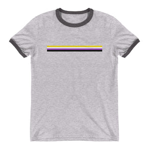 Non Binary Bar Flag Ringer T-Shirt