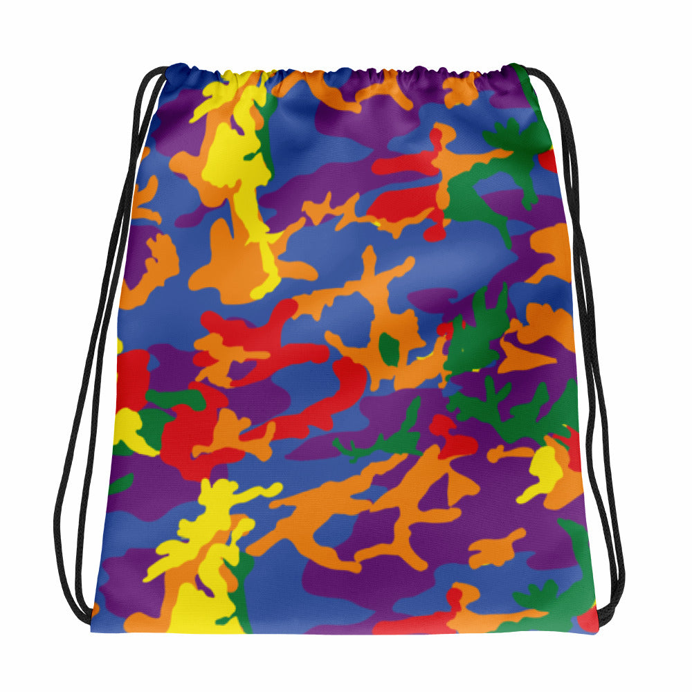 Rainbow Army Camouflage Drawstring bag Shopping Gym Work Pool Backpack Back Carry