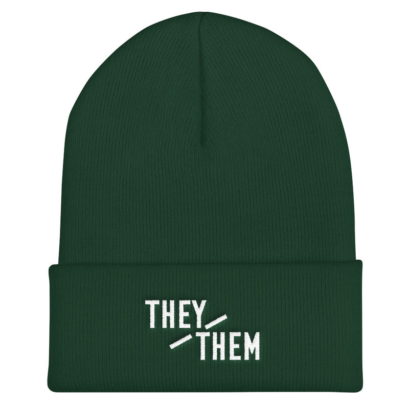 They/Them Pronouns Cuffed Beanie