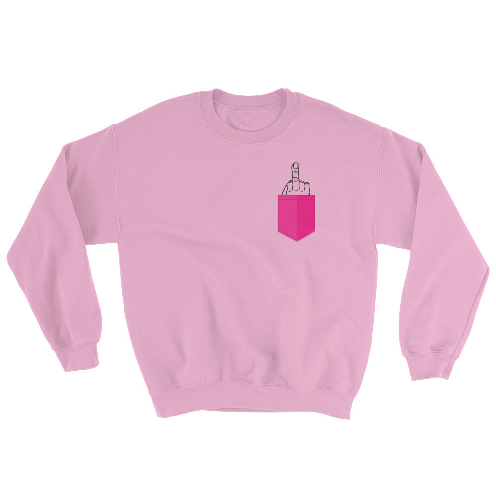Pink Middle Finger Pocket Sweatshirt