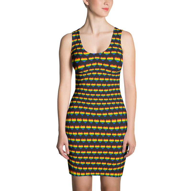 Rainbow Heart Pattern Sublimation Cut & Sew Dress