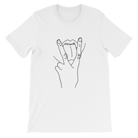V (vag) sign with tongue out tshirt - White/Black | Tshirt with Attitude | Wear it out nightclubbing or at a rave