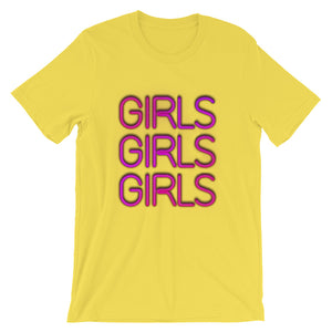 Neon lights Girls Girls Girls Short-Sleeve Unisex T-Shirt
