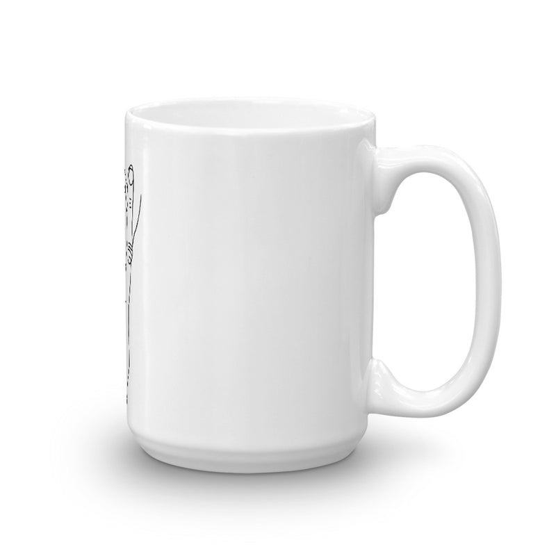 Vag V Sign Mug - v sign, tongue, finger, fingers, crude, in your face, confronting cup