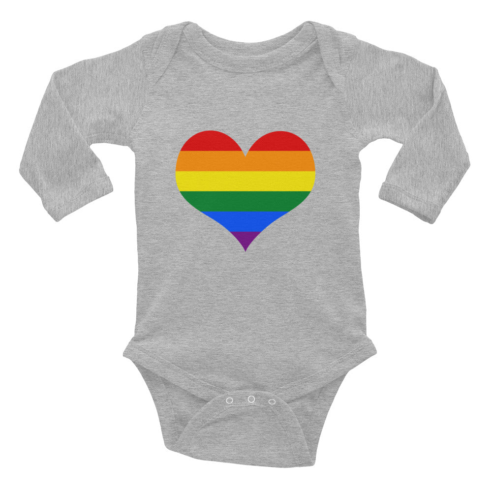 Rainbow Heart Infant Long Sleeve Bodysuit