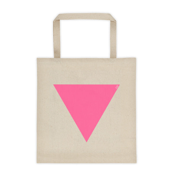 Pink Triangle Tote Bag | show your LGBTQIA pride | badge of gay pride | reclaimed
