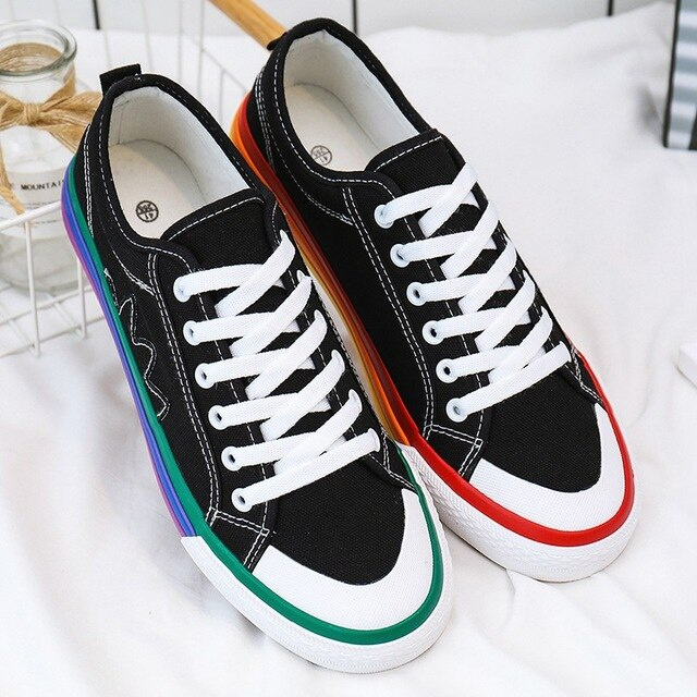Rainbow flag vulcanised Shoes