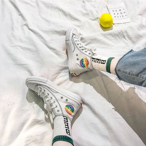 Rainbow flag high top canvas Shoes