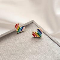 Rainbow block heart earrings