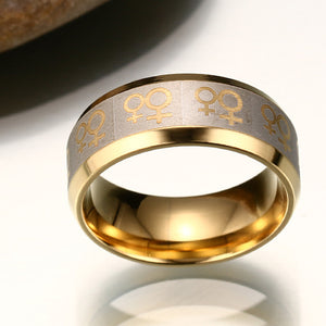 Gold Tone Stainless Steel Ring Lesbian Ring