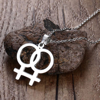 Lesbian symbol stainless steel pendant/necklace