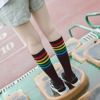 Rainbow Striped Cotton Knee Socks