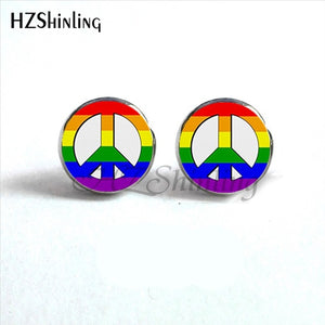 NES-0049  Bi Pride Stud Earrings LGBT Earrings Hypoallergenic Ear Nail Gay Pride Jewelry Glass Cabochon Earrings HZ4