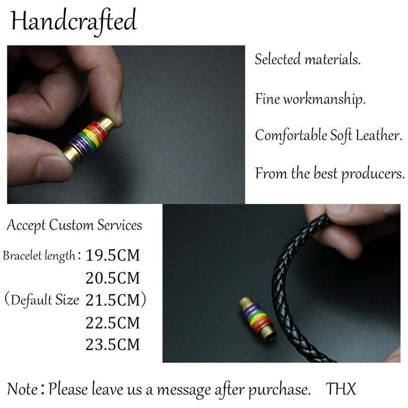 Genuine Braided Rainbow Pride Leather Bracelet