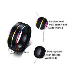 8mm Rainbow Ring with black band