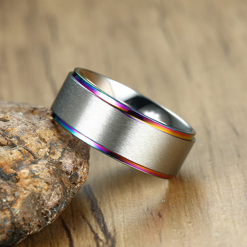 Stainless Steel Rainbow Side Ring