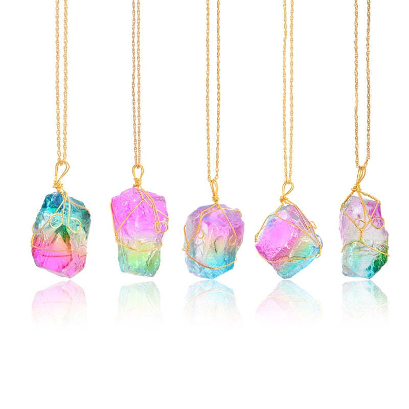Rainbow Crystal Pendant Necklace