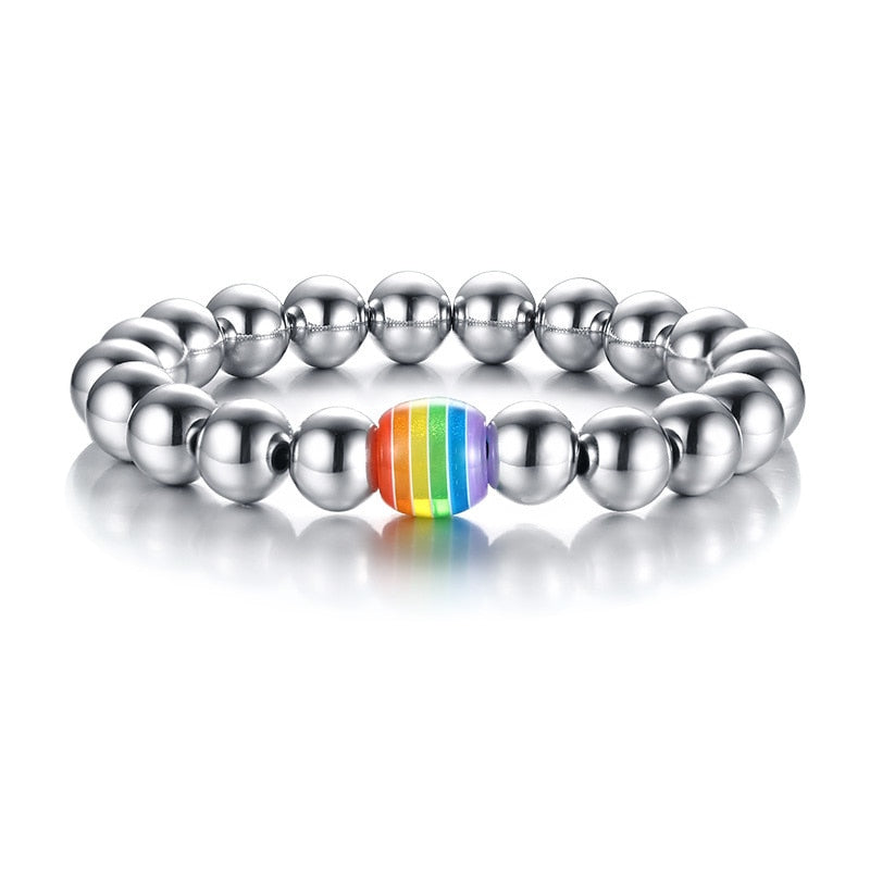Stainless Steel Beaded Rainbow Bracelet