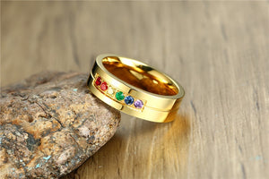 Gold Plated Stainless Steel Cubic Zirconia Rainbow Ring