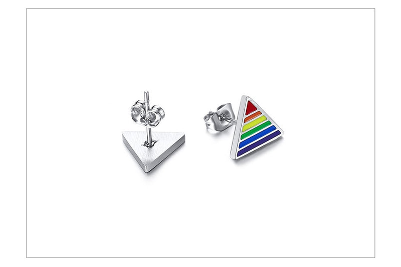 Triangle Rainbow Stud LGBT  Earrings