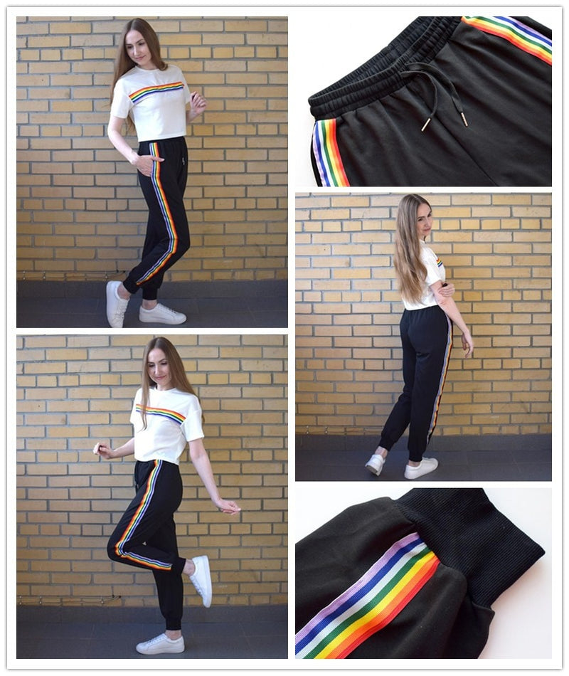 SweatyRocks Rainbow Striped Drawstring Tracksuit Pants