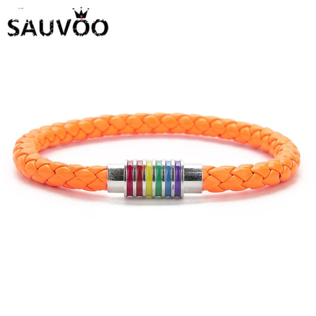 Sauvoo 6MM Round Braided Stainless Steel Leather bracelets