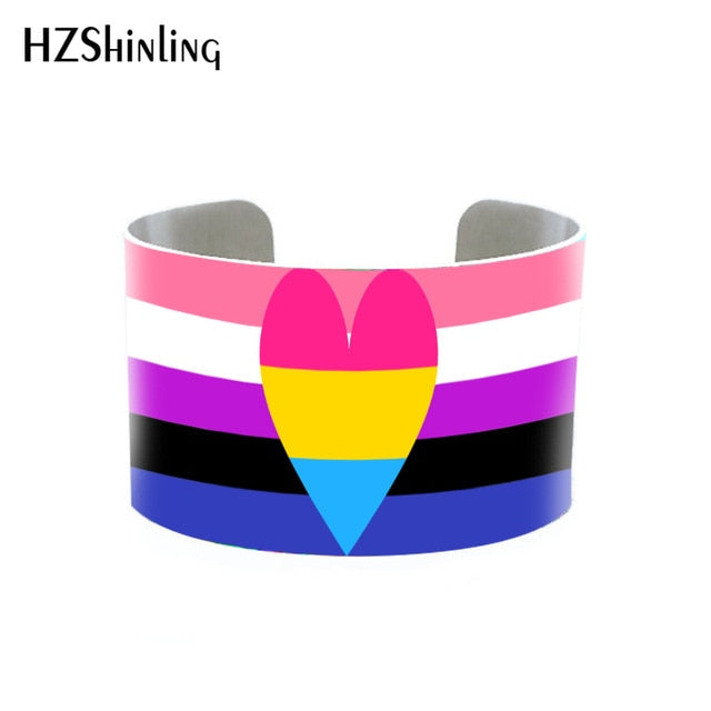 Pride Cuff / Bangle (Various flags) including Bi, Gay, Pansexual, Trans