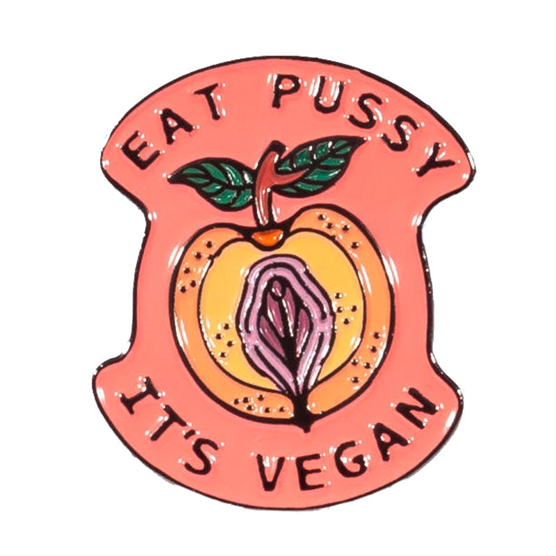 Vegan Vagitarian Lesbian/Bisexual/Trans/Queer Pin Badge