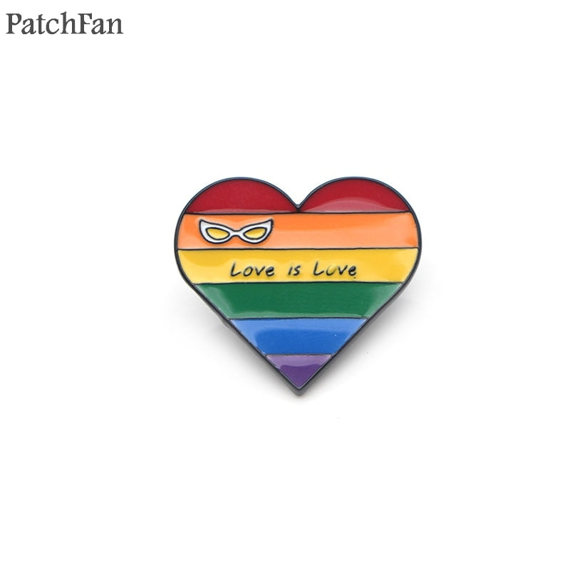 Love is love rainbow heart pin