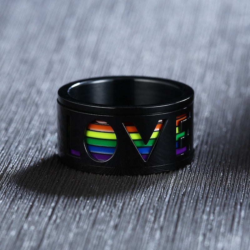 Unisex Pride Spinner LOVE Ring With Enamel Rainbow Inlay