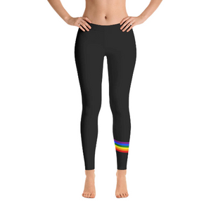 Rainbow Sash Left Leg Activewear / Leggings - simple but fashionable style