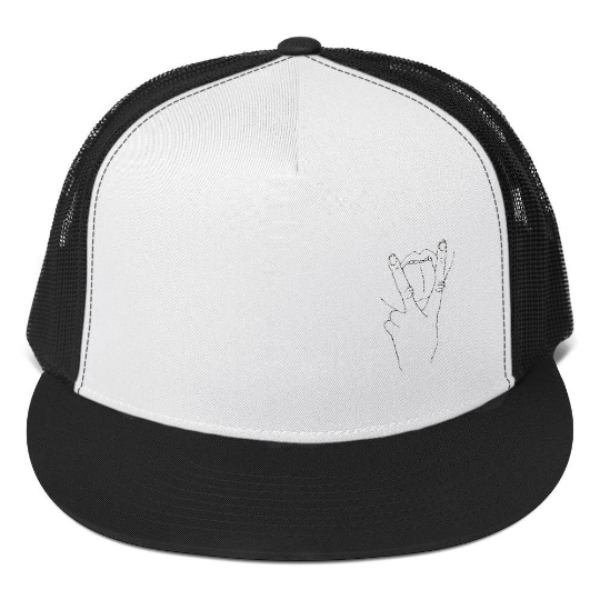 Vag sign Trucker Cap - v sign, tongue, finger, fingers, crude, in your face, confronting hat