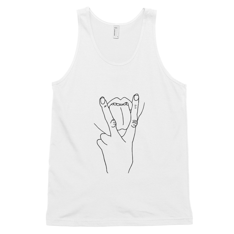 V (vag) sign with tongue out tank top - White/Black