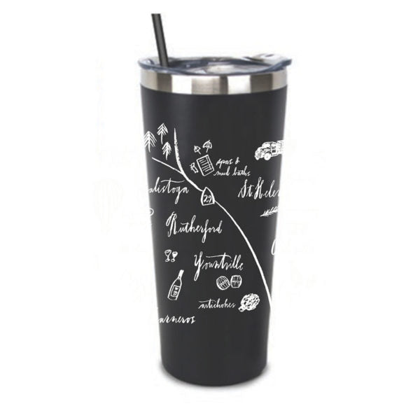 CALLIGRAPHY MAP NAPA VALLEY STAINLESS STEEL TUMBLER