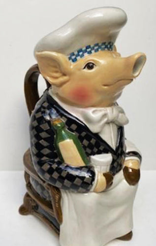 FAIENCE FRENCH CHEF PIG PITCHER