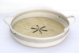 WOVEN GREY SERVING TRAY