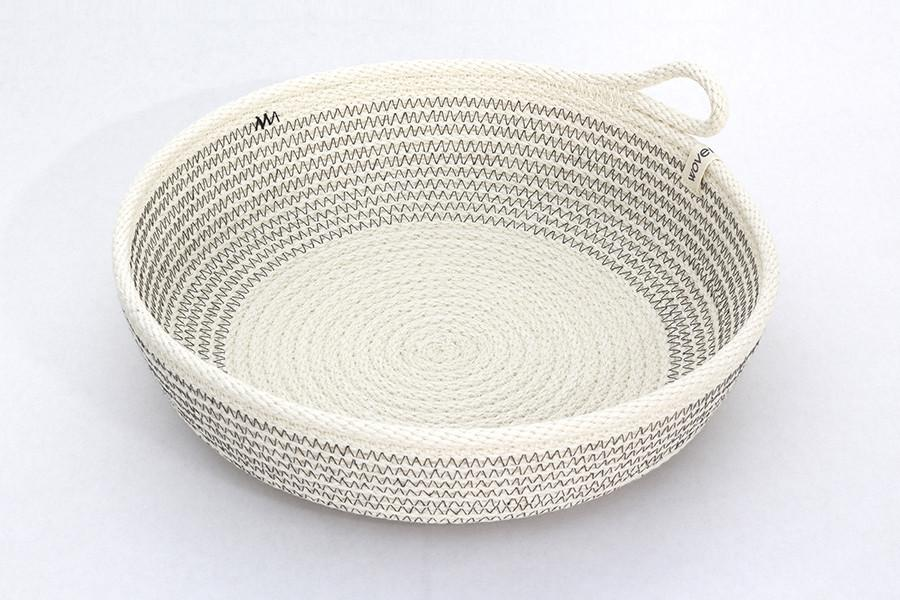 WOVEN GREY COLOR BLOCK BASKET