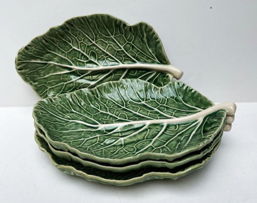 MAJOLICA CABBAGE LEAF OVAL PLATES SET OF 4
