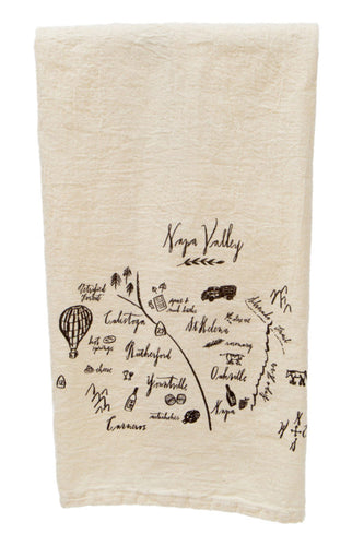CALLIGRAPHY MAP NAPA VALLEY TEA TOWEL