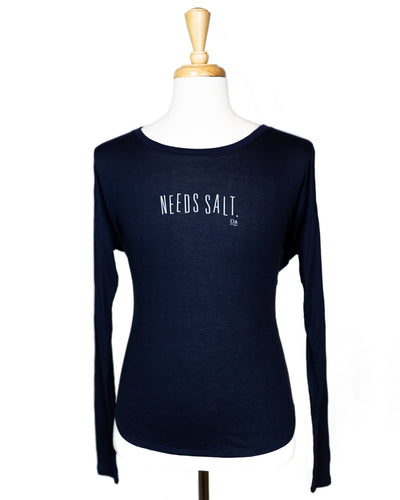 NEEDS SALT WOMEN'S LONG SLEEVE SHIRT (NAVY)