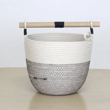 WOVEN BUCKET WITH WOOD HANDLE