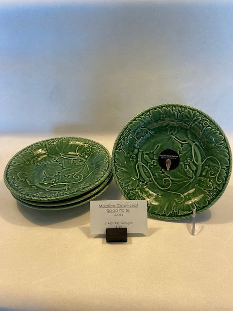 MAJOLICA GRAPE LEAF SALAD PLATES