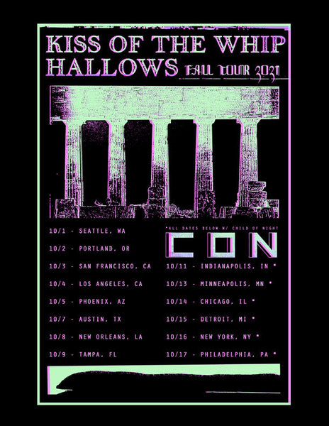 kiss of the whip, hallows, child of night tour poster