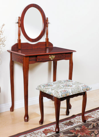 This Cherry Finish Vanity Mirror with its perfectly casual style and solid construction, beautifully carved is Simply perfect for any bedroom! This set is a decidedly refined, academic-looking collection that immediately provides a sense of character to even the classiest decors, offering a versatile set of handsome furniture for your home.